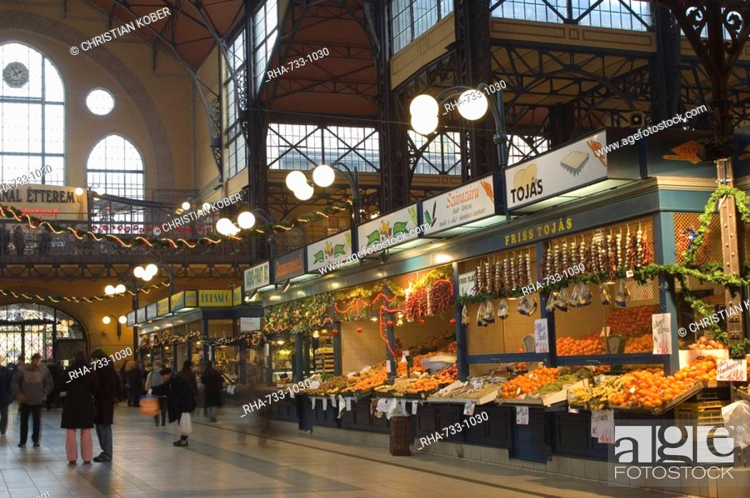 Stock Photo: Fruit, food stands at Central Market, Budapest, Hungary, Europe.