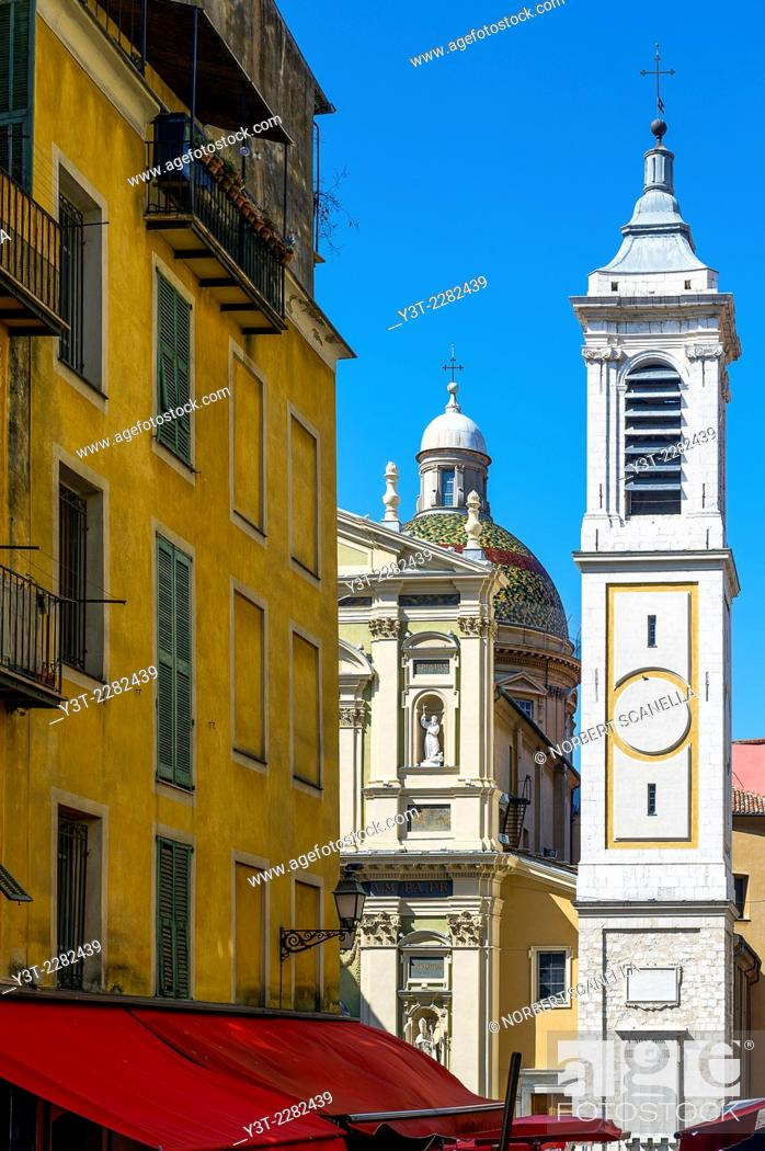 Stock Photo: Europe, France, Alpes-Maritimes, Nice. Colorful building of the old town, place Rossetti and the St. Reparate cathedral.