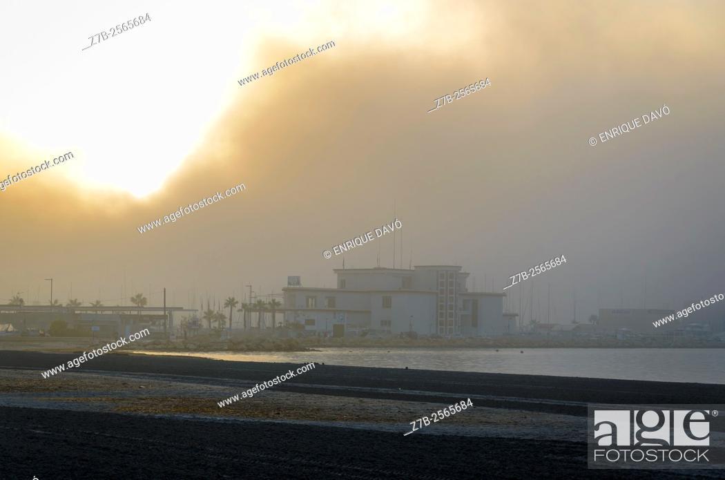 Stock Photo: A white sky view with fog in Santa Pola coast, Alicante, Spain.
