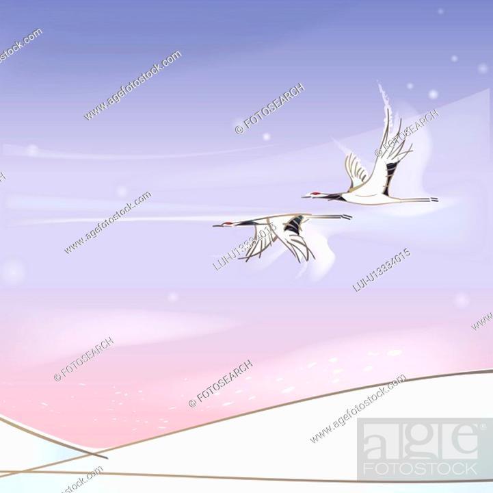 Stock Photo: hill, season, snowing, snow, winter, crane, background.
