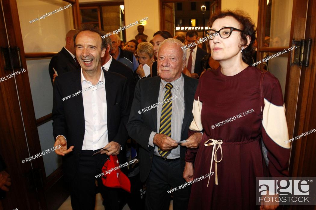 Stock Photo: Roberto Benigni, Achille Bonito Oliva, Nicoletta Braschi arrive at the Premiere of theatrical performance ' Waiting for the Sibyl ' at Opera Theatre of Rome.