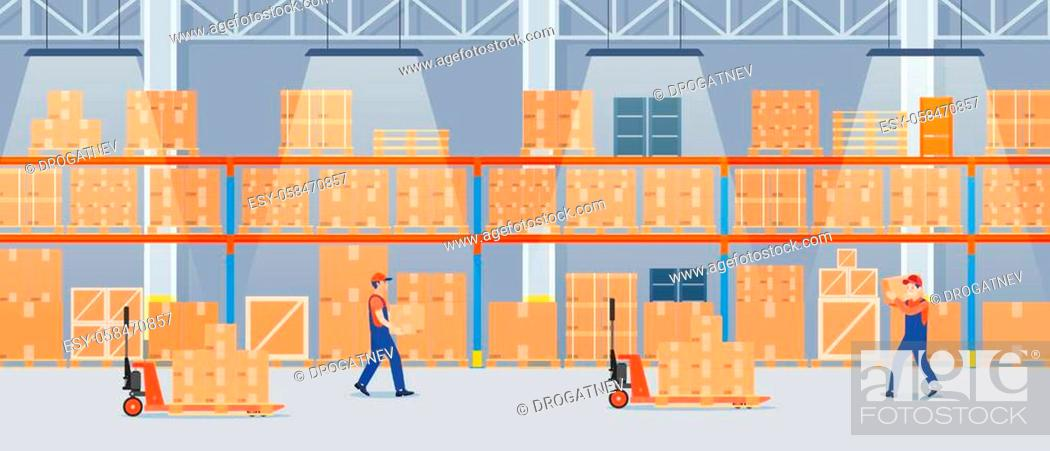 Vecteur de stock: Warehouse interior with cardboard boxes on metal racks and working people.. Warehouse interior with goods, pallet trucks and container package boxes.