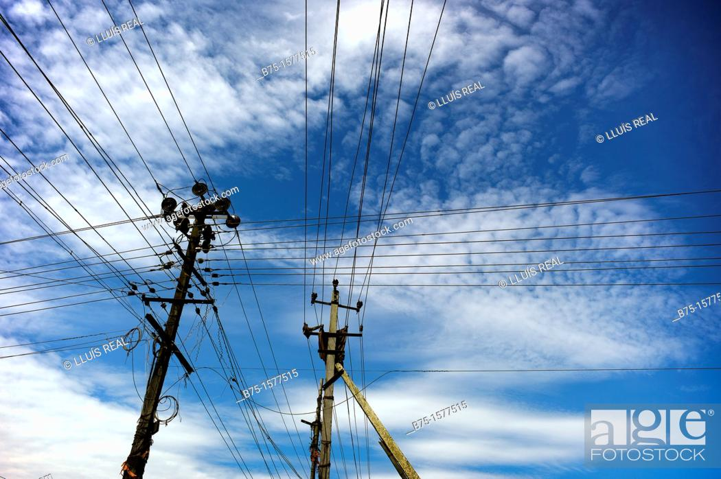 Stock Photo: Electric cables, India, Asia.