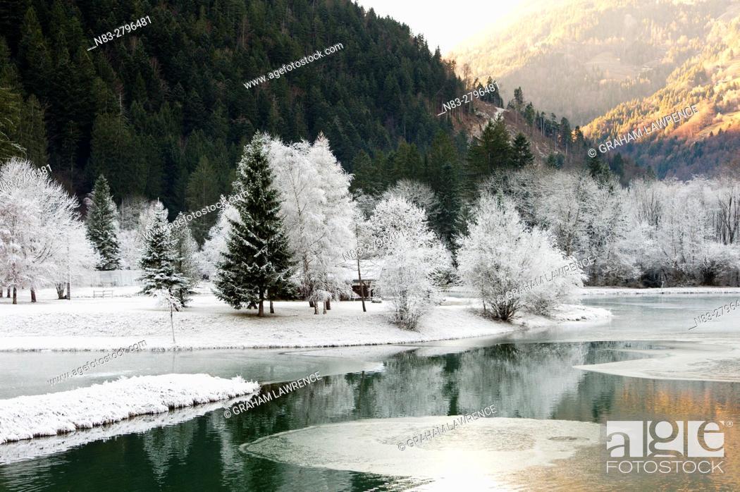 Stock Photo: A frosty landscape in the Vallée du Beaufortain, Savoie, France, Europe.