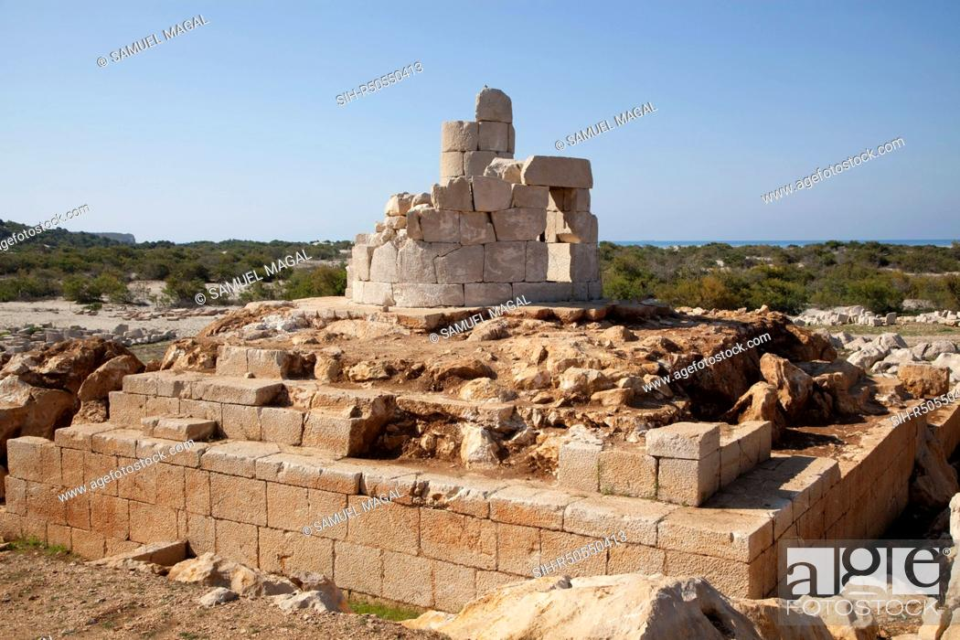 Stock Photo: The Patara Lighthouse, dated to 60 BC, under the reign of Neron of the Roman Empire, was unearthed completely in 2005, but it is collapsing daily due to brine.