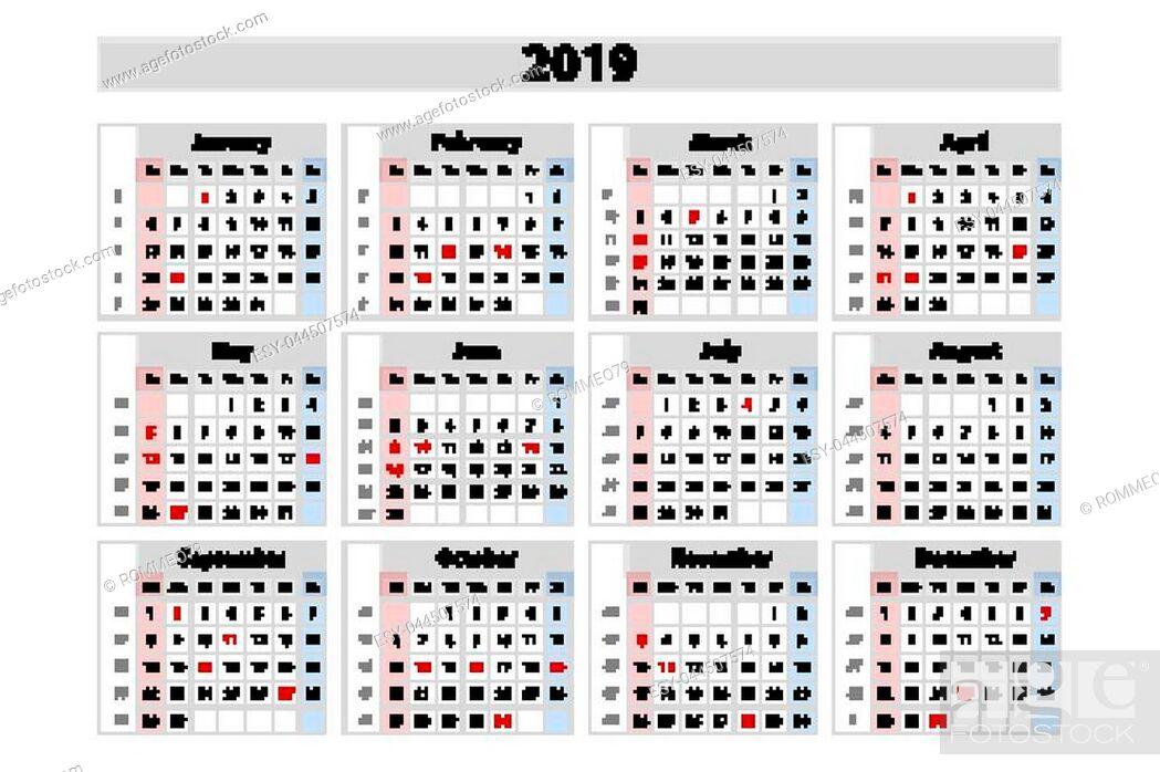 Stock Vector: vector calendar 2019, Week starts from Sunday, business template art.