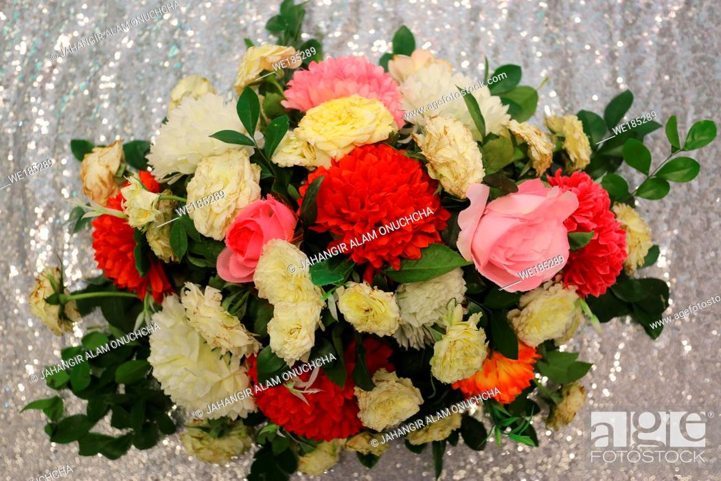 Stock Photo: Silver Background Hand made paper flower, Wedding decoration and colorful wedding stage in Bangladesh.