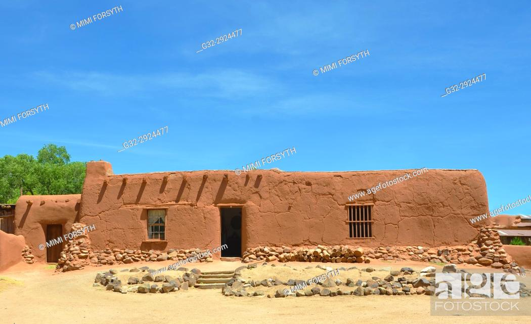 Stock Photo: old adobe buildings, rural residence, New Mexico.