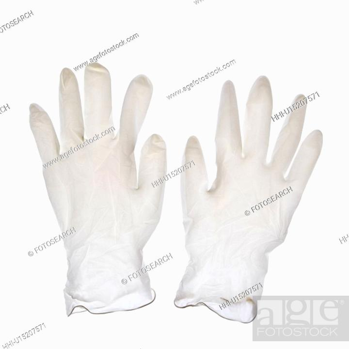 Stock Photo: Rubber gloves on white background.