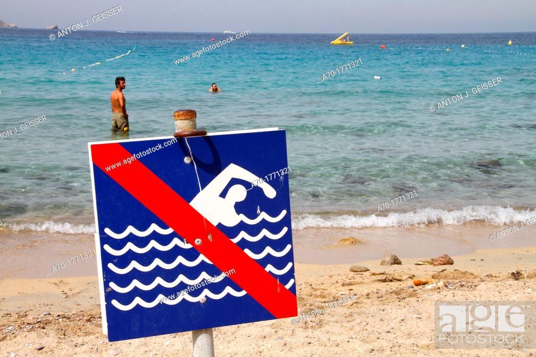 Stock Photo: Spain , balearic island , Ibiza , danger sign at the beach.