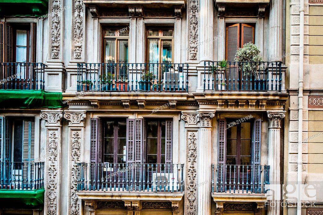 Stock Photo: Balconies on Calle Gravina, Barcelona, Spain.