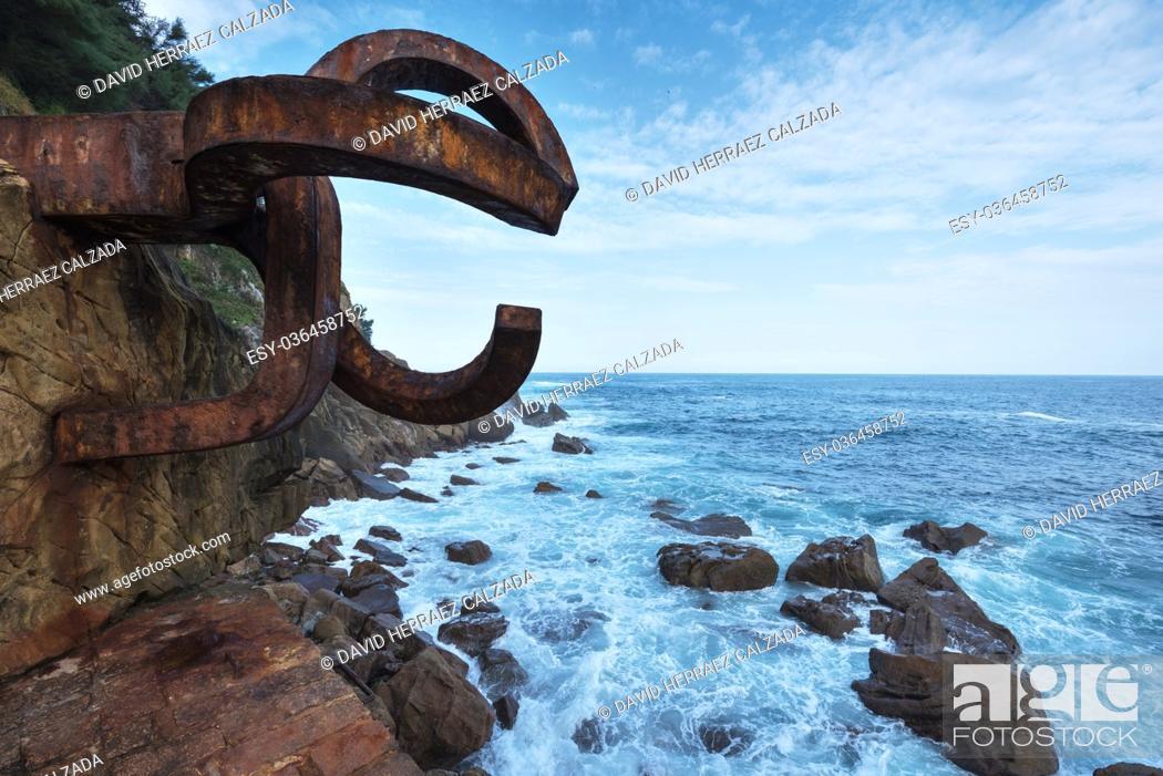 Stock Photo: SAN SEBASTIAN, SPAIN - OCTOBER 17: Peine del viento Sculpture on October 17, 2016 in San Sebastian, Spain.