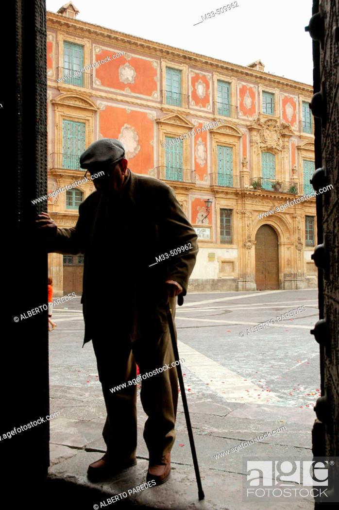 Stock Photo: Episcopla palace. Plaza Cardenal Belluga. Murcia. Spain.