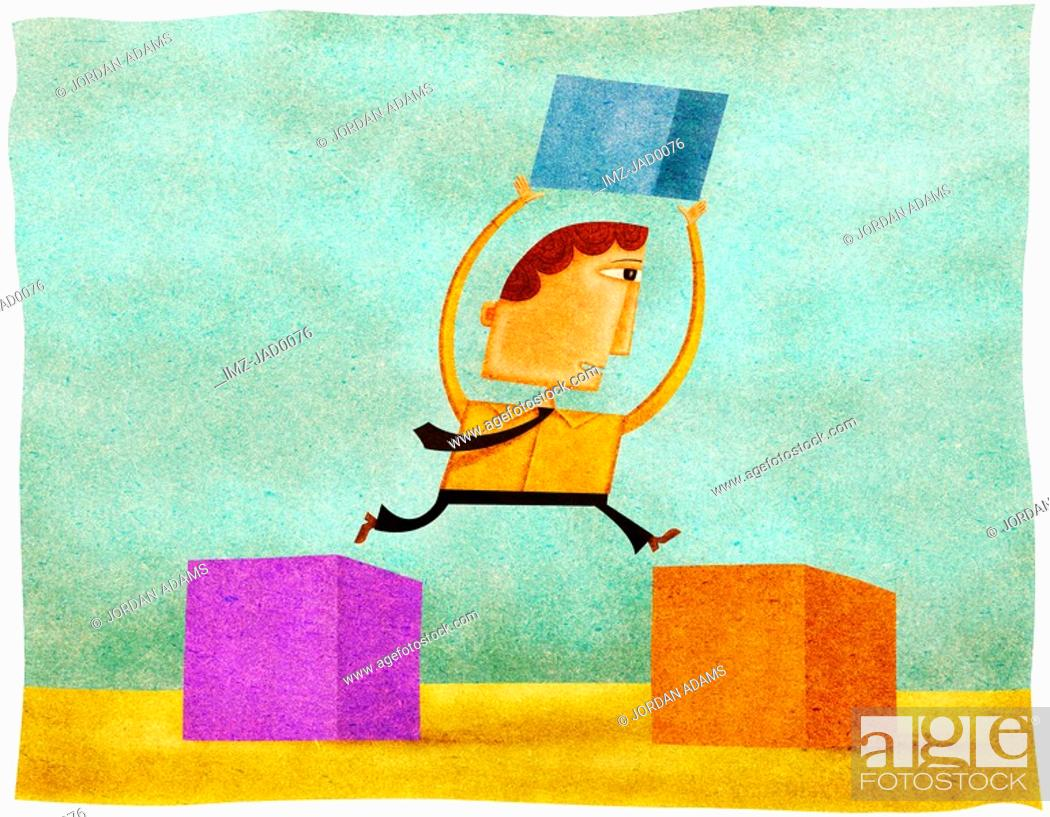Stock Photo: A man holding a block and jumping from one block to another.