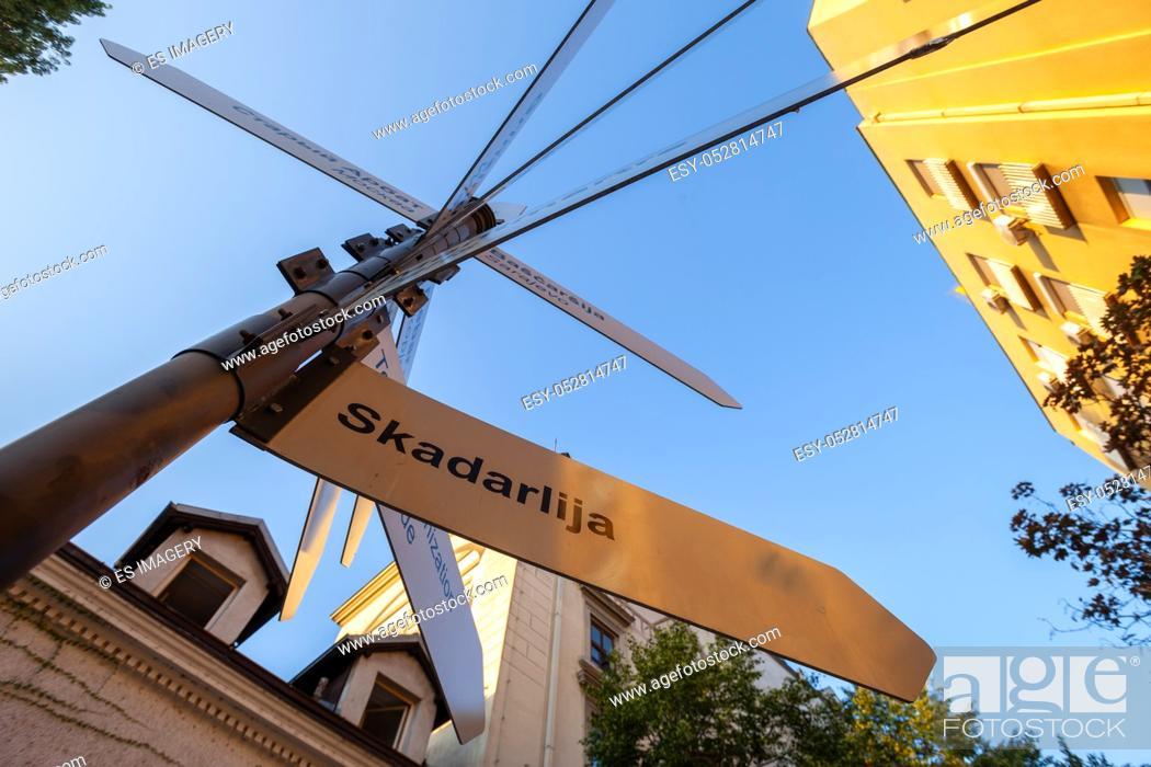 Stock Photo: Sign for Skadarlija, Belgrade's bohemian district.