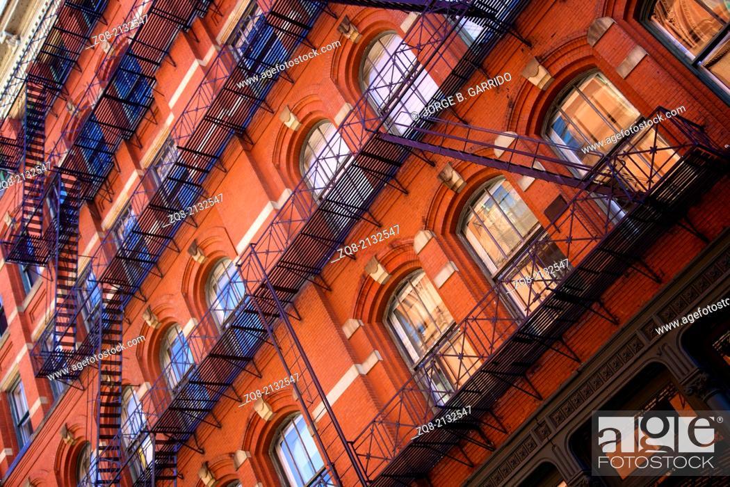 Stock Photo: Historic cast iron buildings in New York City's Soho District.