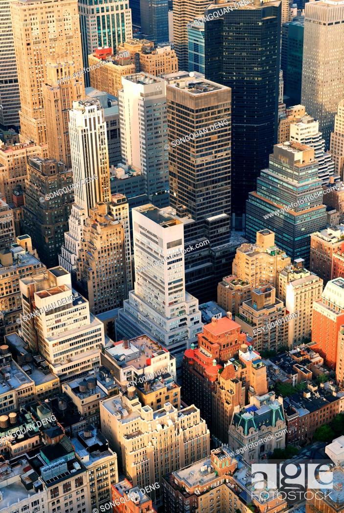 Stock Photo: Manhattan aerial skyline.