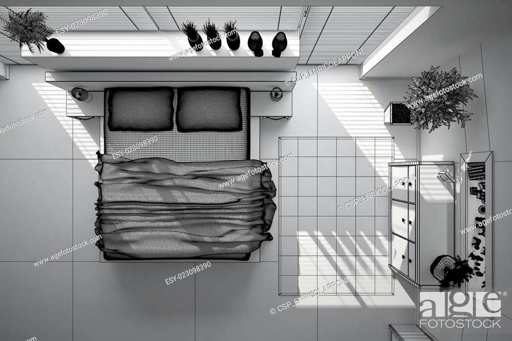 Stock Photo: 3D interior rendering of a modern bedroom.