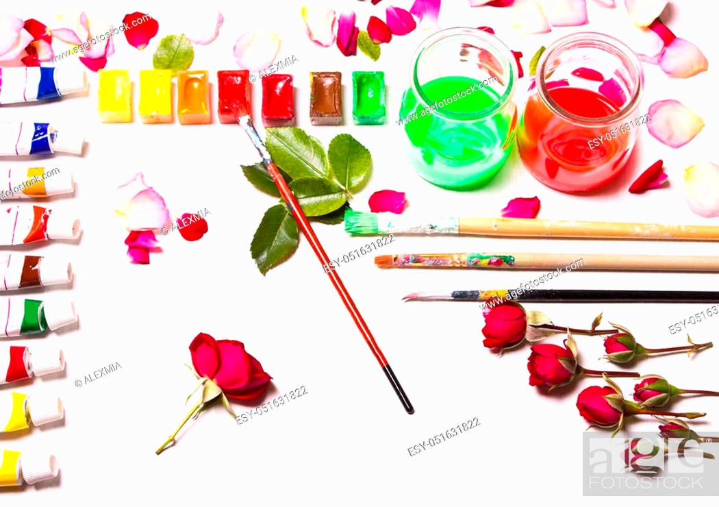 Stock Photo: The composition of colors, paints, brushes. Concept designer working space, desktop artist, a creative person. Type flat top.