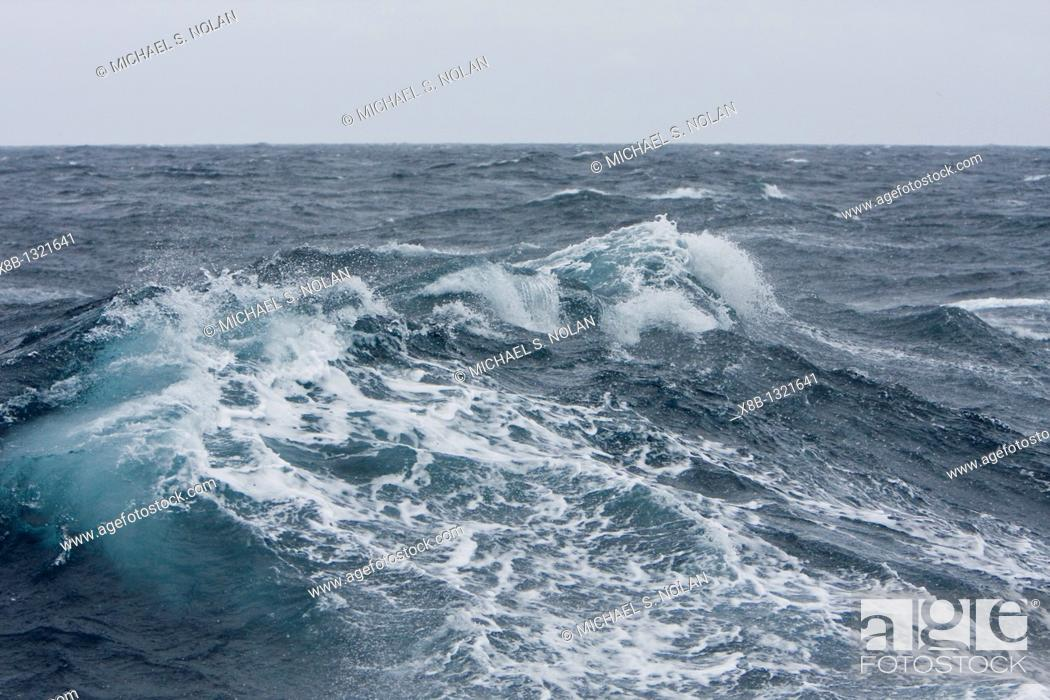 Stock Photo: The Drake Passage from aboard the National Geographic Endeavour  The Drake passage crosses the roaring forties and furious fifties degrees of lattitude  This is.