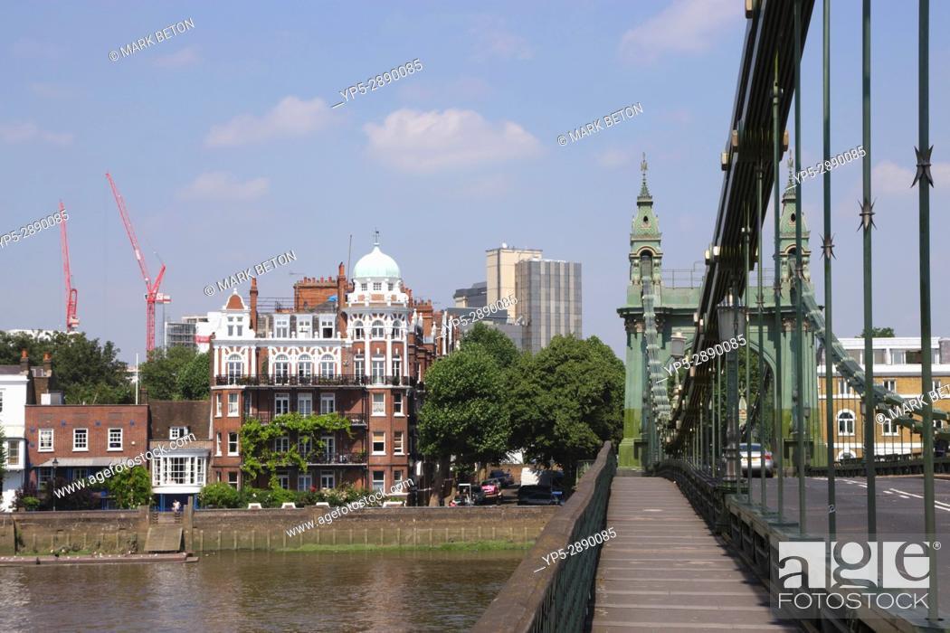 Stock Photo: On Hammersmith Bridge London.