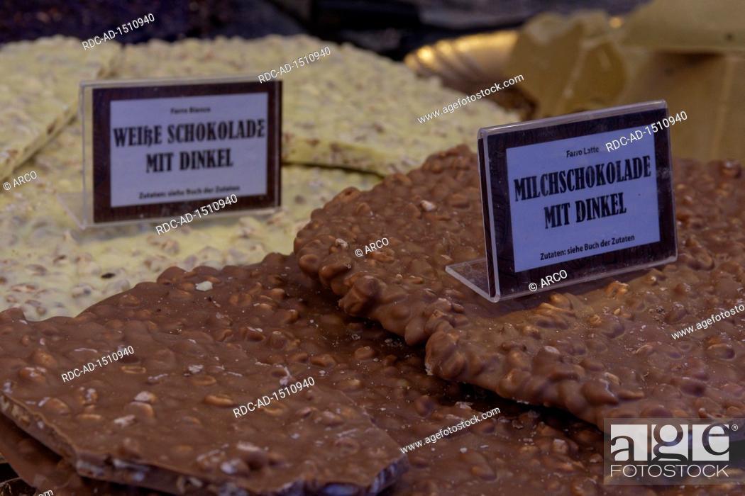 Stock Photo: different chocolates, chocolate festival, Tuebingen, Baden-Wurttemberg, Germany, Europe.