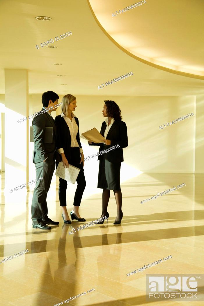 Stock Photo: Business executives standing together talking.