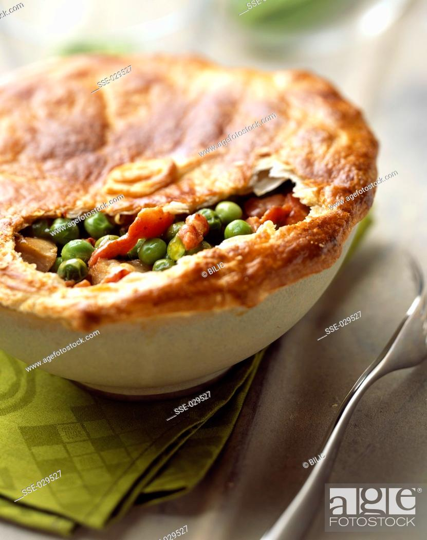 Stock Photo: Chicken and pea pie.