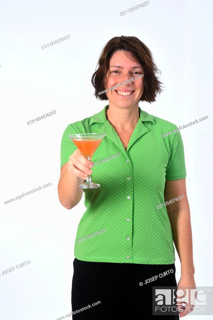 Stock Photo: woman with a cup of cocktail on white background.