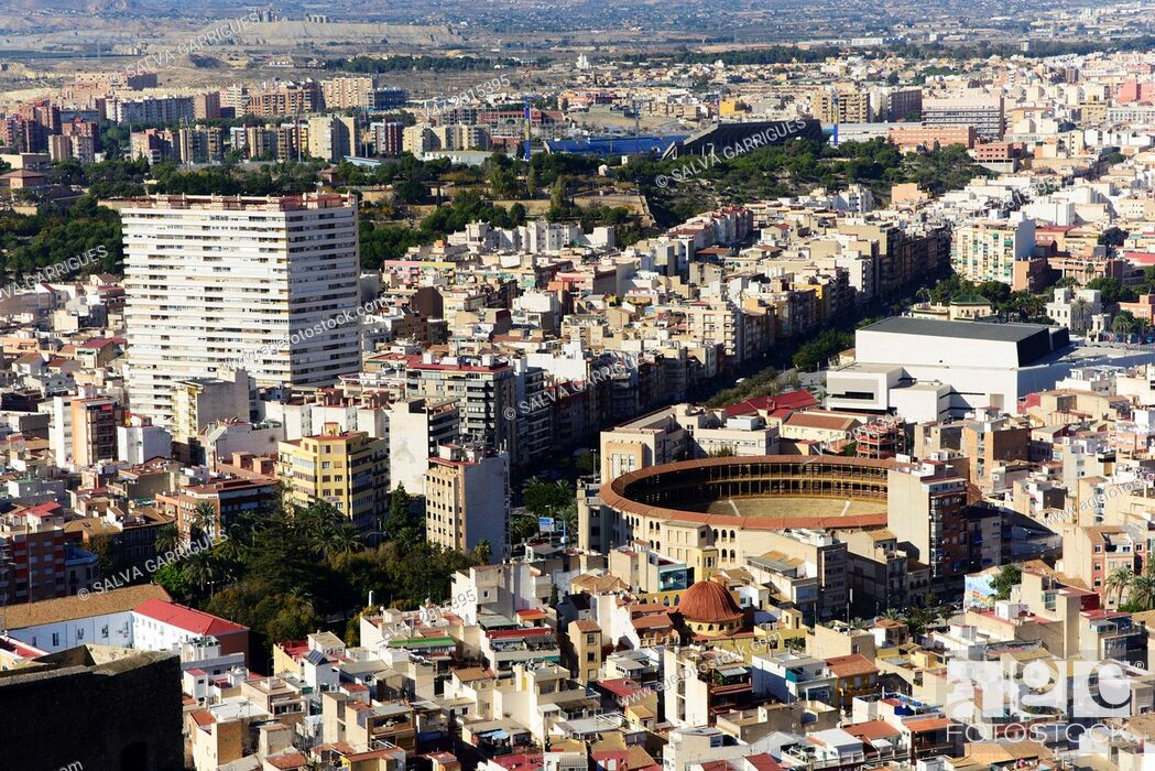Stock Photo: View from above of the city of Alicante, Valencia, Spain.