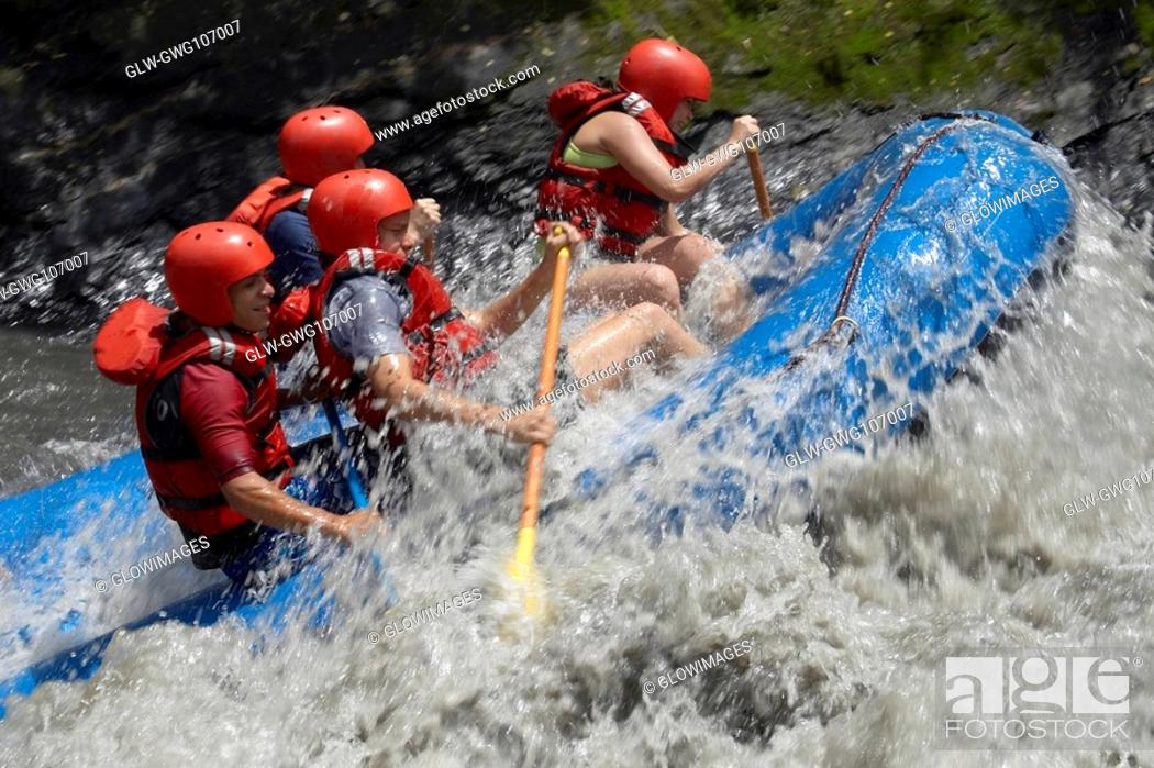 Stock Photo: Side profile of four people rafting in a river.