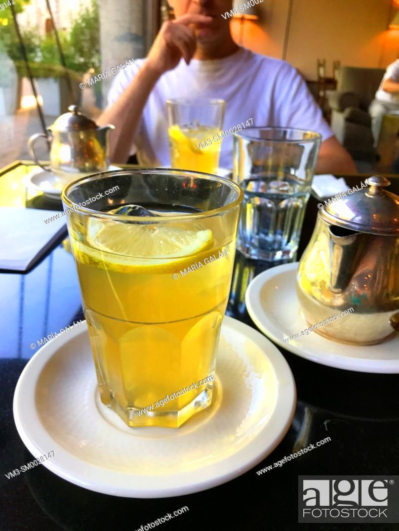 Stock Photo: Lemon tea in a cafeteria. Spain.