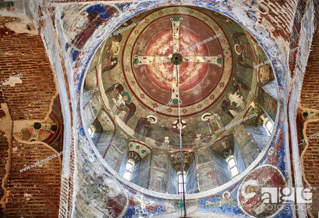 Stock Photo: Pictures & imagse of the interior cupola frescoes of the Timotesubani medieval Orthodox monastery Church of the Holy Dormition (Assumption).