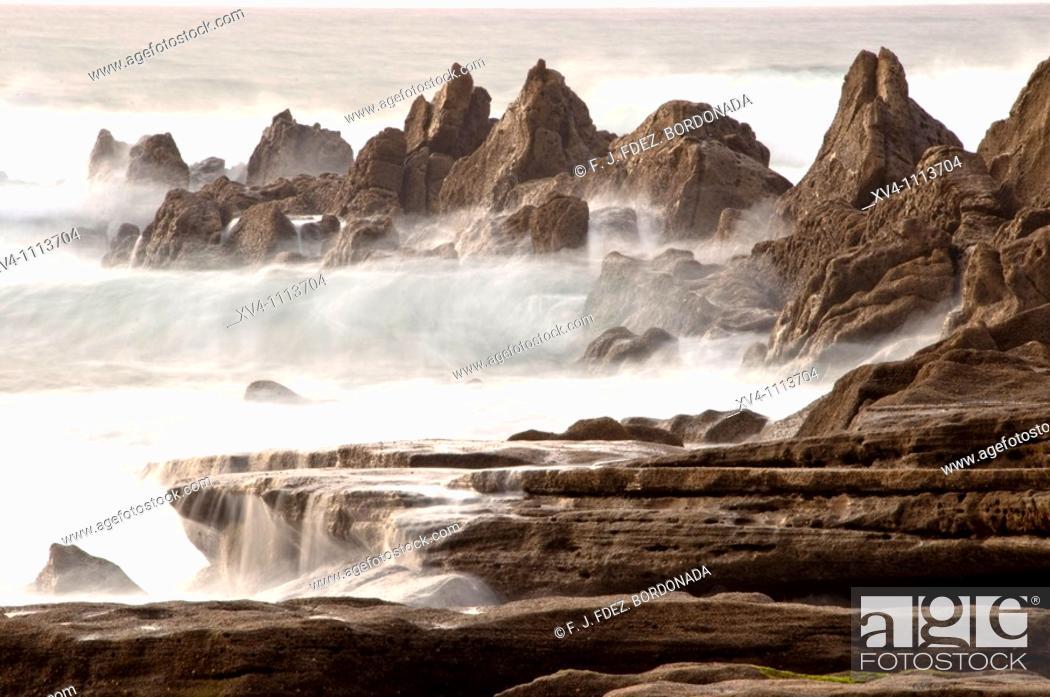 Stock Photo: Azkorri beach  Vizcaya  Basque country  Spain.