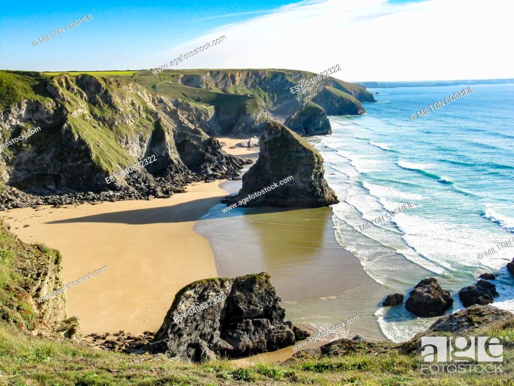 Stock Photo: Bedruthan Steps, Cornwall.