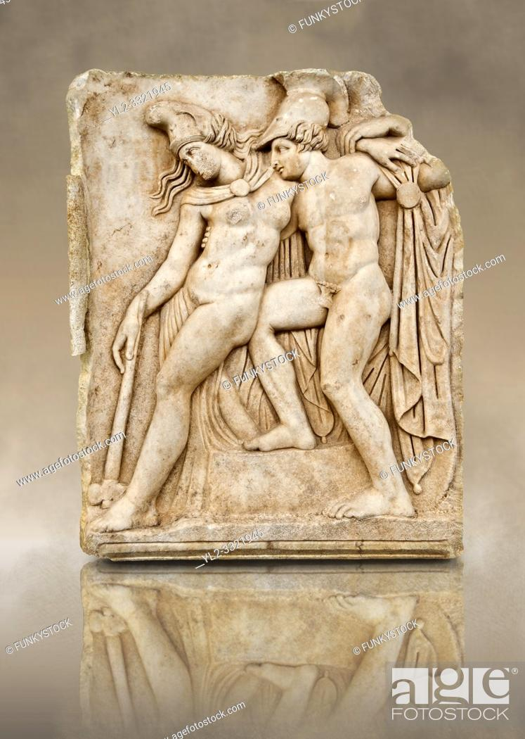 Stock Photo: Roman temple freize relief sculpture of Achilles and a dying Amazon, Aphrodisias Museum, Aphrodisias, Turkey. Achilles supports the dying Amazon queen.