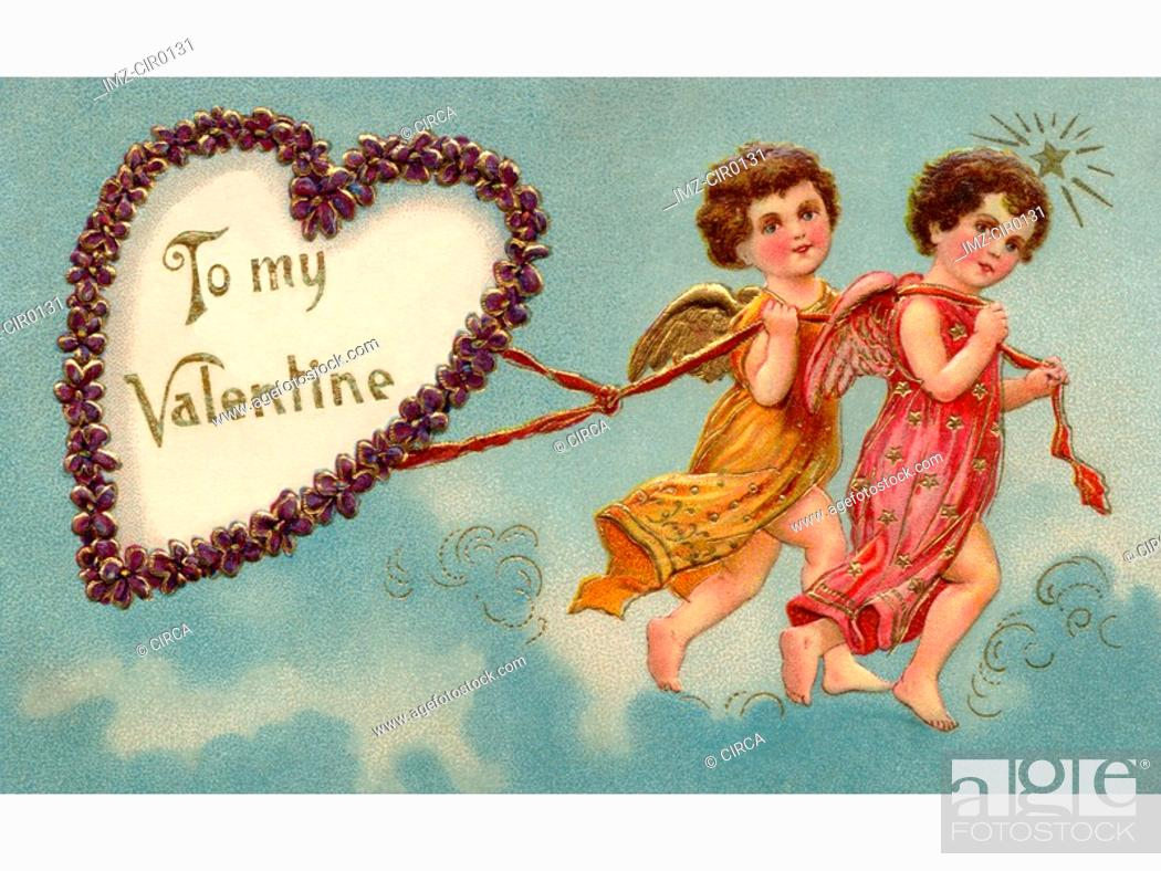 Stock Photo: A vintage To My Valentine card with two cherubs pulling a heart.