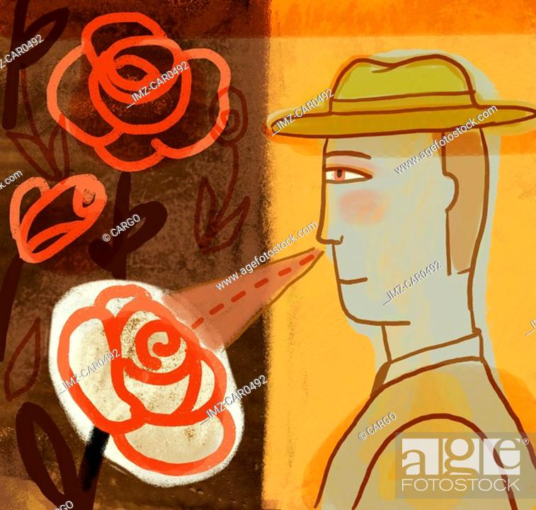 Stock Photo: Illustration of a man smelling roses.