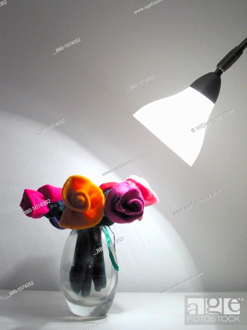 Stock Photo: Artificial flower, flower vase, lamp, growth, Kiel, Germany.