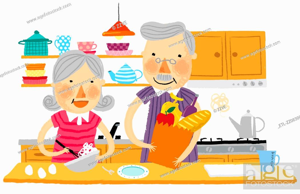 Stock Photo: Elderly couple helping each other in kitchen.