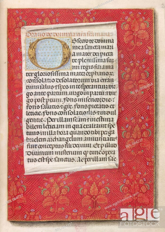 Stock Photo: Prayers to the Virgin Whole folio Prayer 'Obsecro te' beginning with decorated initial 'O' Image taken from Huth Hours. Originally published/produced in S.