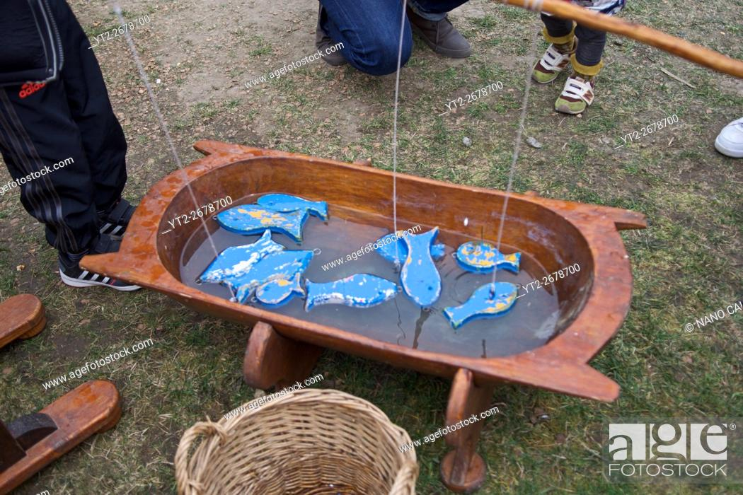 Stock Photo: Wood fishing game for kids.