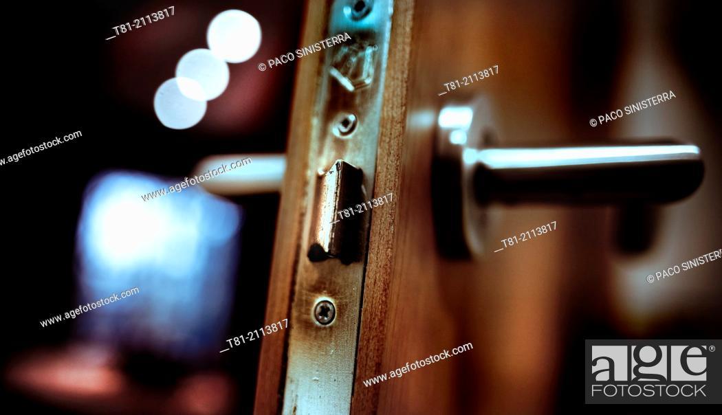 Stock Photo: Door in a hotel room, Paris, France.
