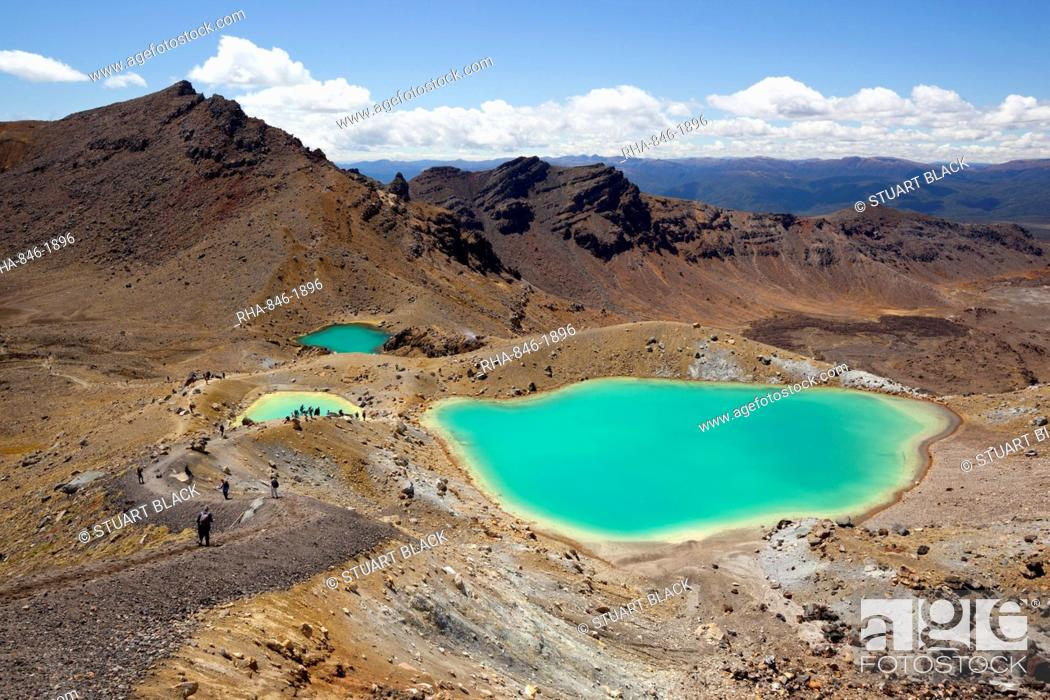 Stock Photo: Emerald Lakes on the Tongariro Alpine Crossing, Tongariro National Park, UNESCO World Heritage Site, North Island, New Zealand, Pacific.