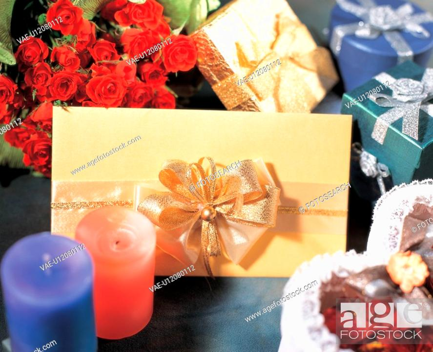 Stock Photo: flower, gift, rose, love, heart, candle, film.