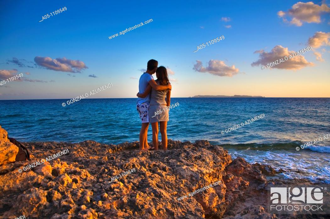 Stock Photo: Sunset in Ses Salines, Majorca, Balearic Islands, Spain.