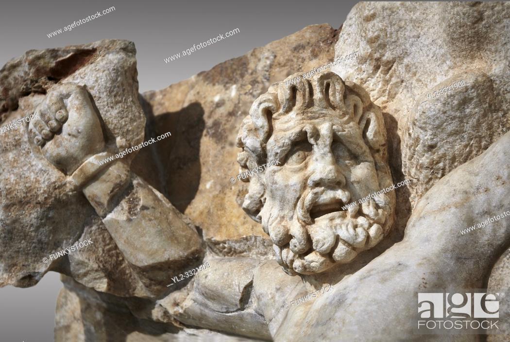 Stock Photo: Detail of a Roman Sebasteion relief sculpture of Zeus and Prometheus, Aphrodisias Museum, Aphrodisias, Turkey. . . Prometheus is screaming in pain.