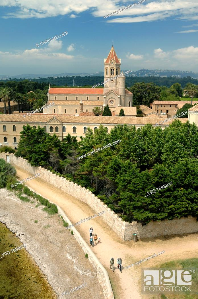 Stock Photo: View over Lérins Abbey or Cistercian Monastery Île Saint Honorat Island one of Lérins Islands Cannes France.