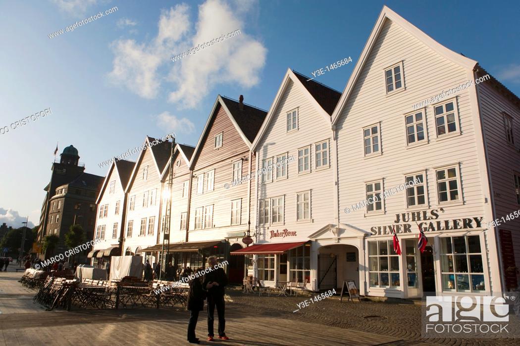 Stock Photo: Europe, Norway, Hordaland, Bergen, Bryggen.