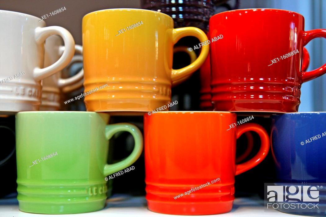 Stock Photo: Colored ceramic cups.